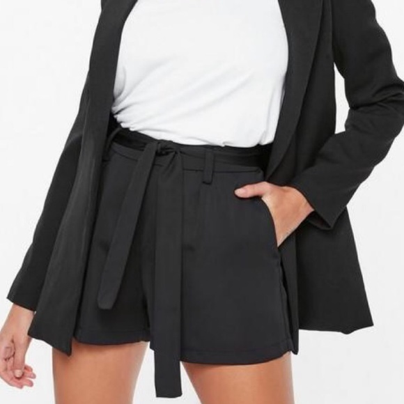 Missguided Pants - Black Tie Waist Shorts